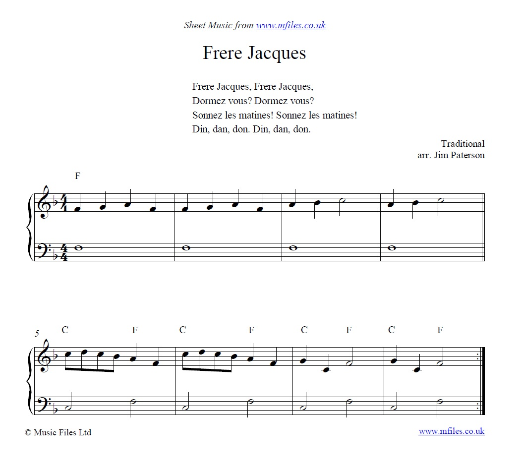 Frere Jacques for piano - sheet music 1st page