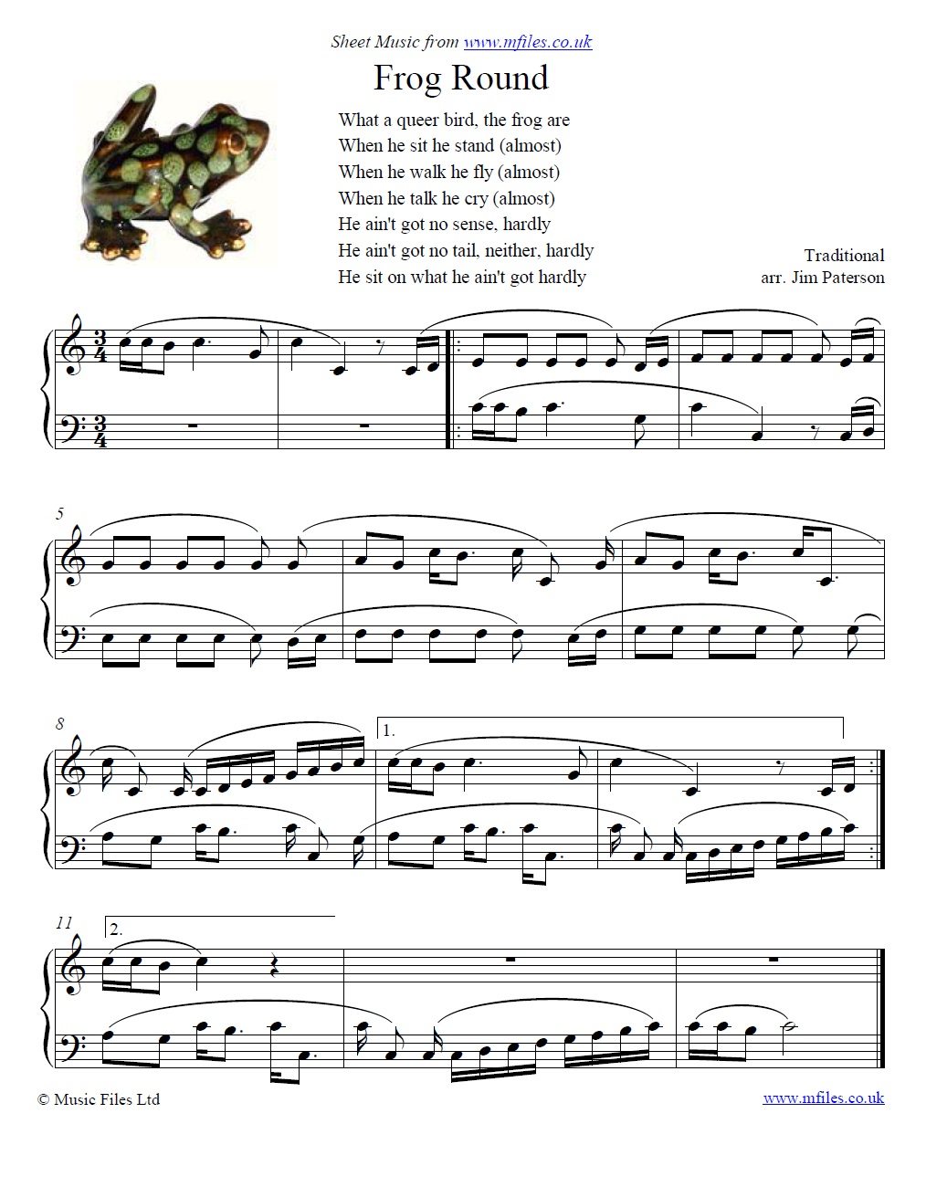 The Frog Round - sheet music 1st page