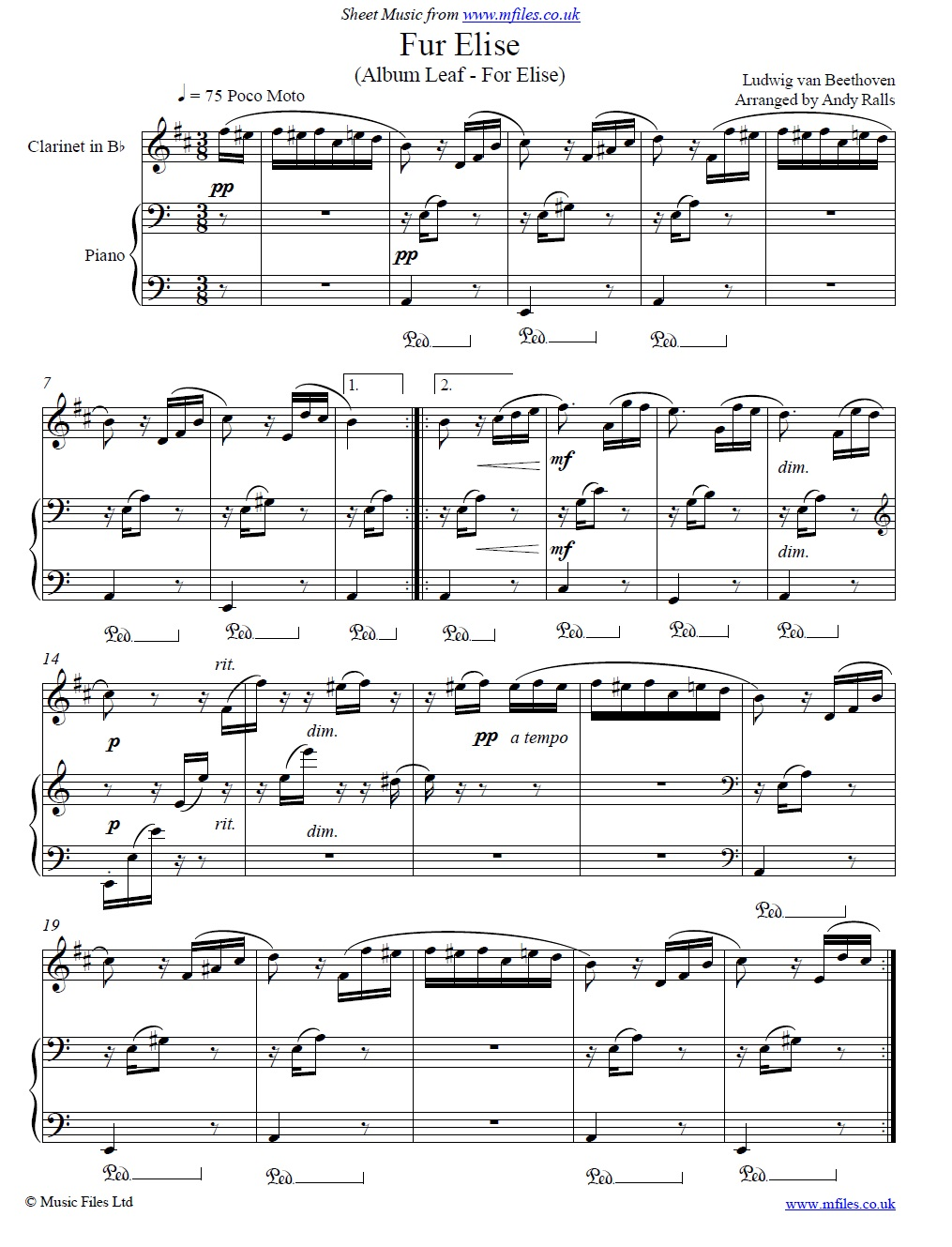 Beethoven's Fur Elise for clarinet and piano - sheet music 1st page