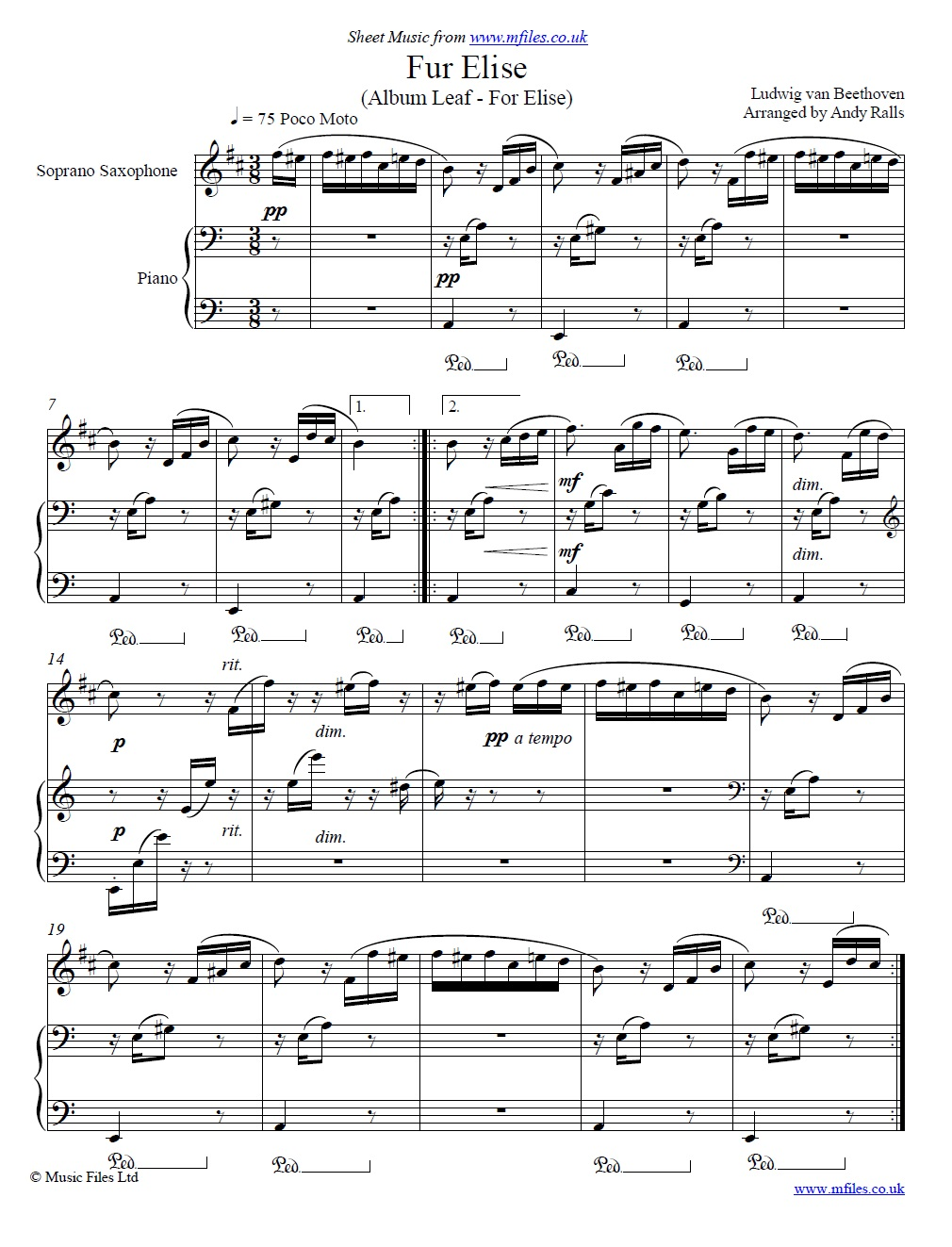 Beethoven's Fur Elise for soprano sax and piano - sheet music 1st page