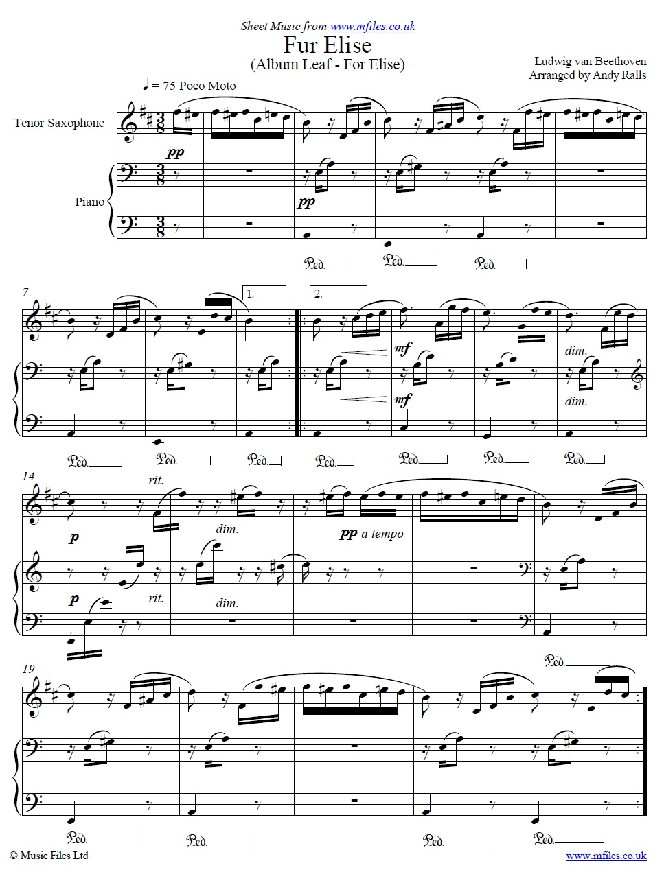 Beethoven's Fur Elise for tenor sax and piano - sheet music 1st page