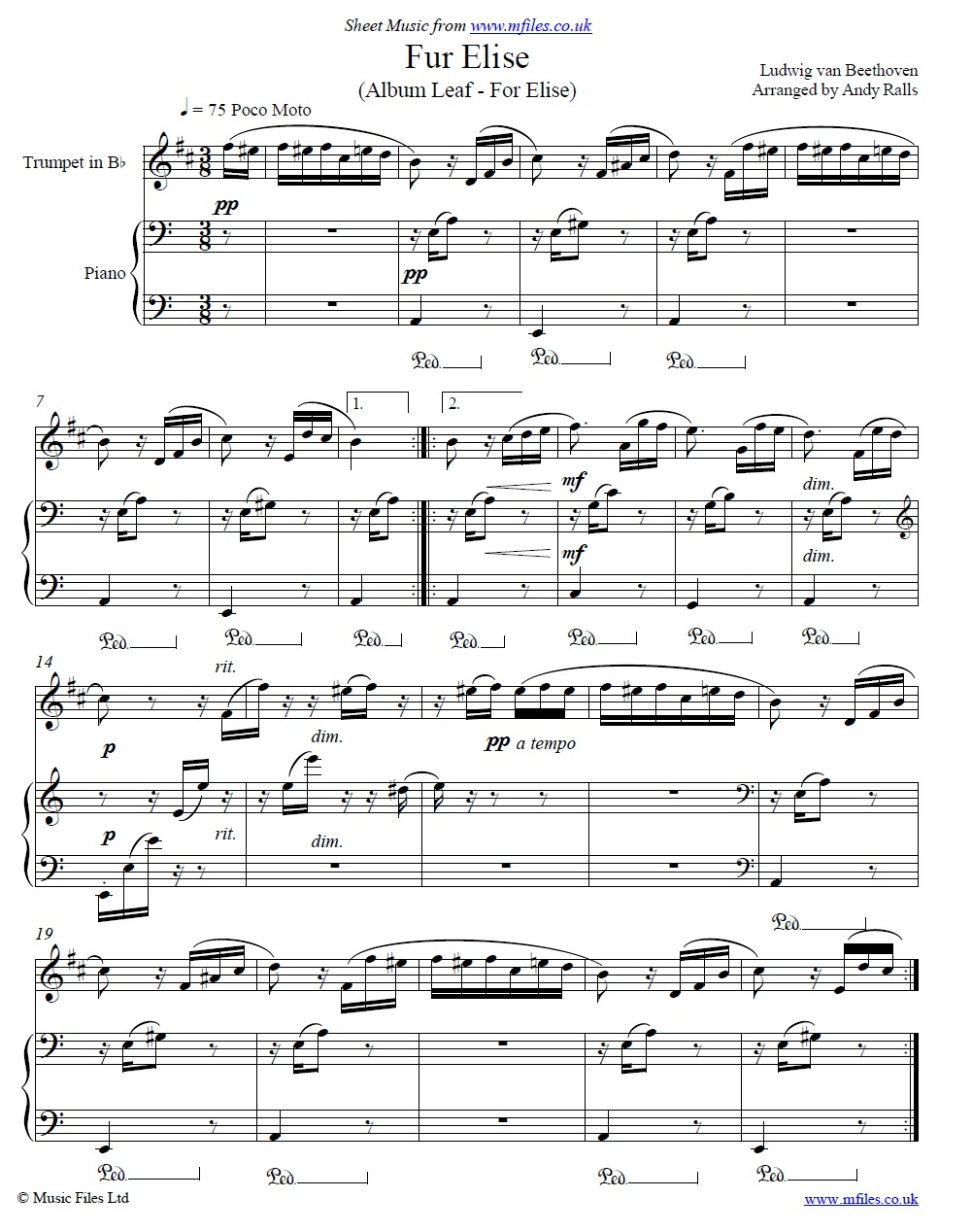 Ludwig van Beethoven : Fur Elise (arranged for Trumpet and Piano