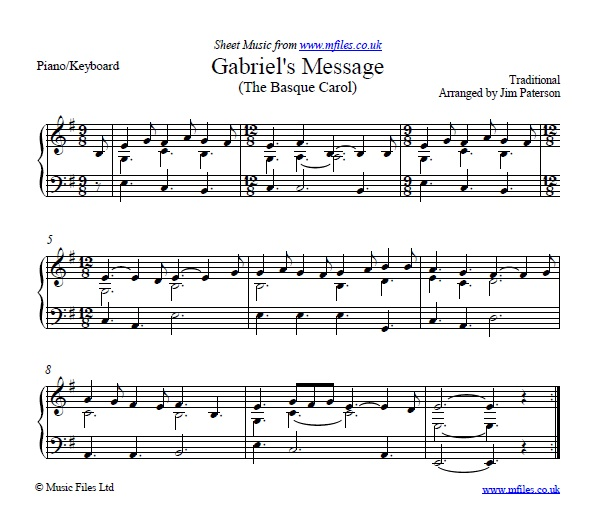 Gabriel's Message (The Basque Carol) for piano - sheet music 1st page