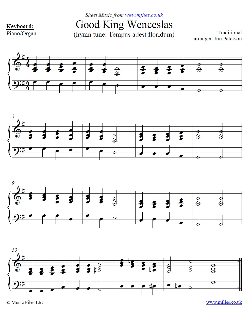 good king wenceslas: a traditional christmas carol arranged for piano by  jim paterson - sheet music  mfiles.co.uk