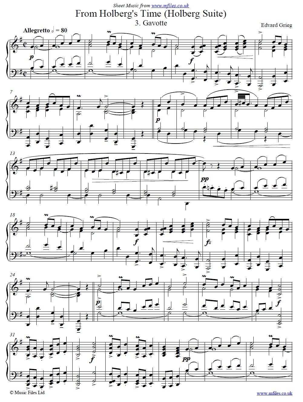 Grieg's Holberg Suite (3rd movement: Gavotte) for piano - sheet music 1st page
