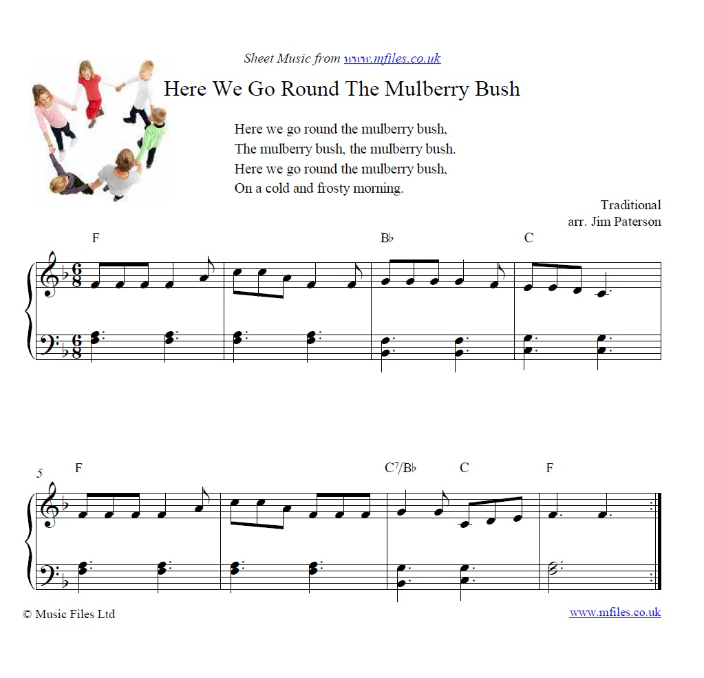 Here We Go Round the Mulberry Bush for piano - sheet music 1st page