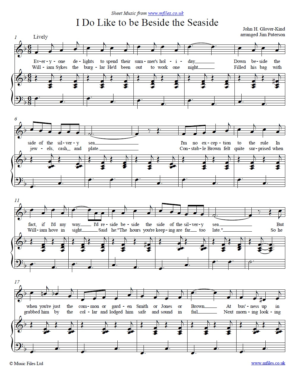 I Do Like to be Beside the Seaside (piano/vocal) - sheet music 1st page