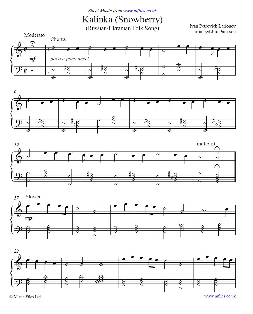 Kalinka Traditional Russian Folk Song By Ivan Petrovich Larionov Sheet Music Arranged For Piano By Jim Paterson