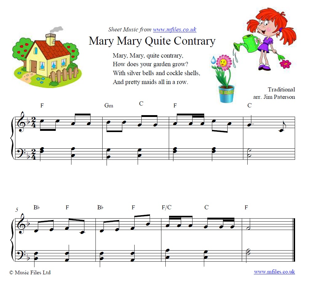 Mary Mary Quite Contrary for piano - sheet music 1st page