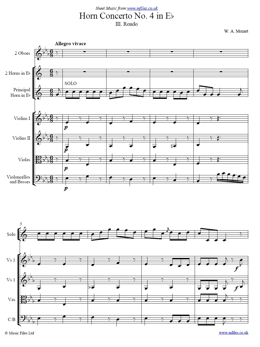 Mozart's 4th Horn Concerto No.4 (3rd Movement: Rondo) score - sheet music 1st page