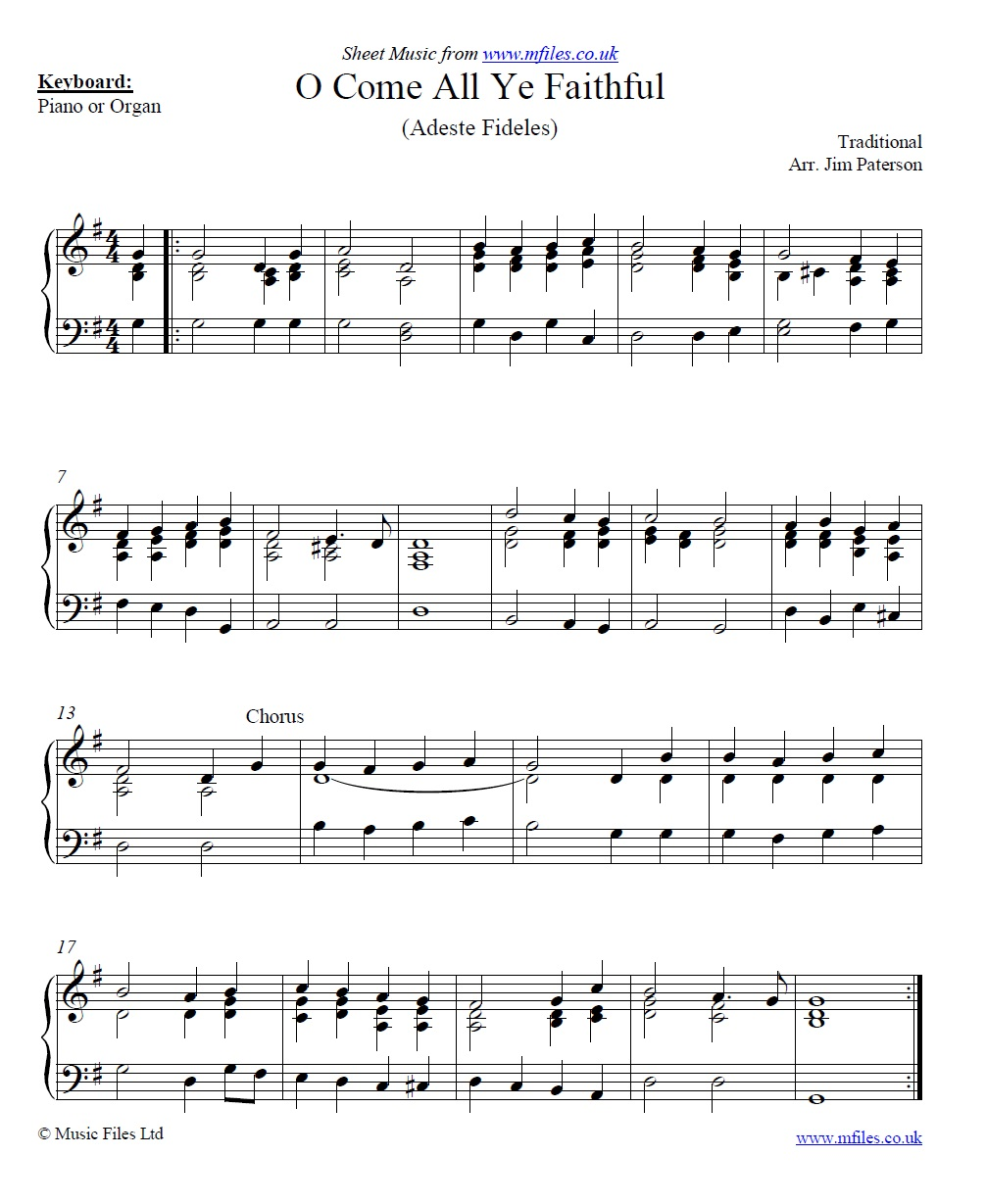 O Come All Ye Faithful for piano - sheet music 1st page