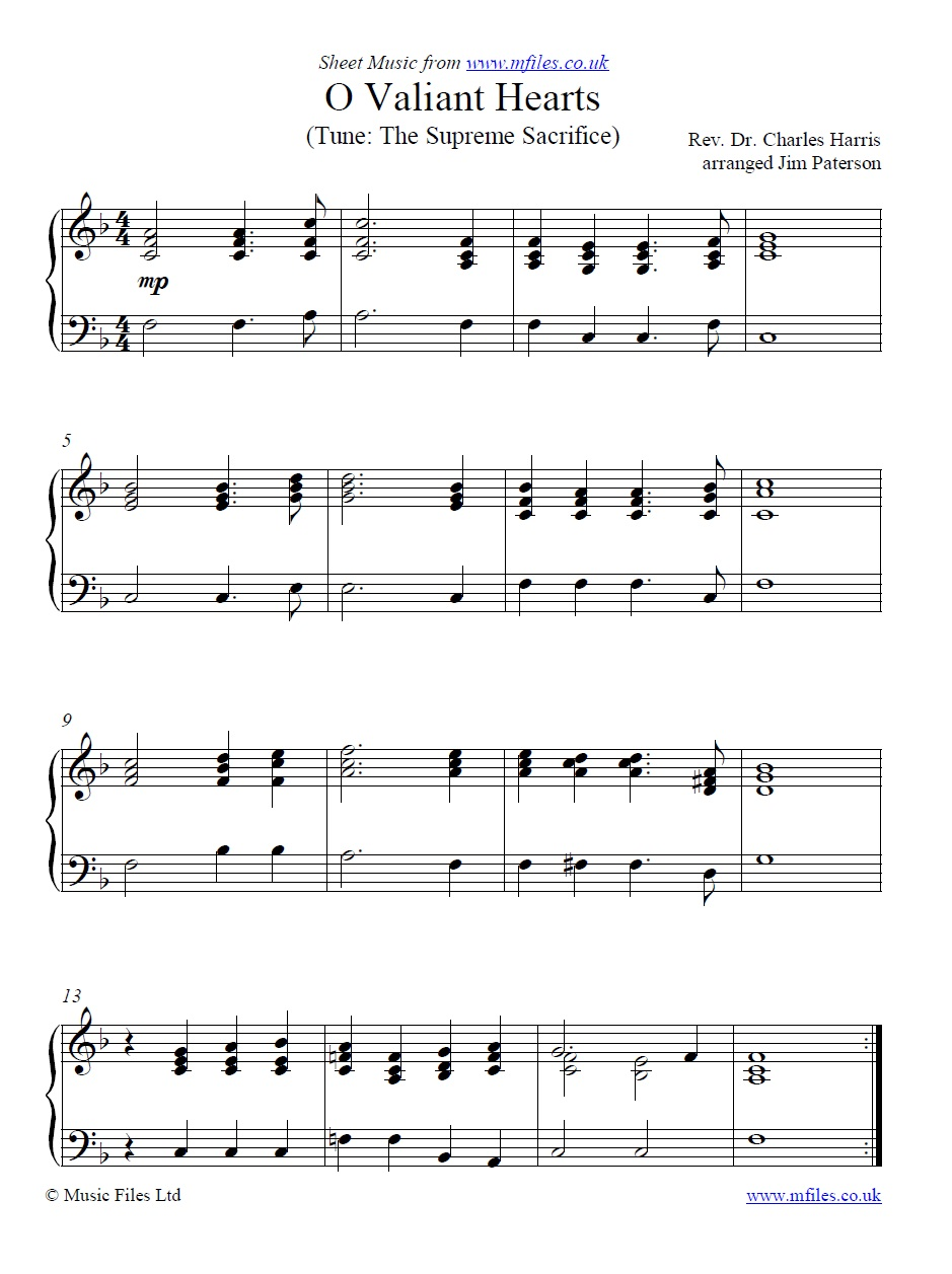 O Valiant Hearts for piano - sheet music 1st page