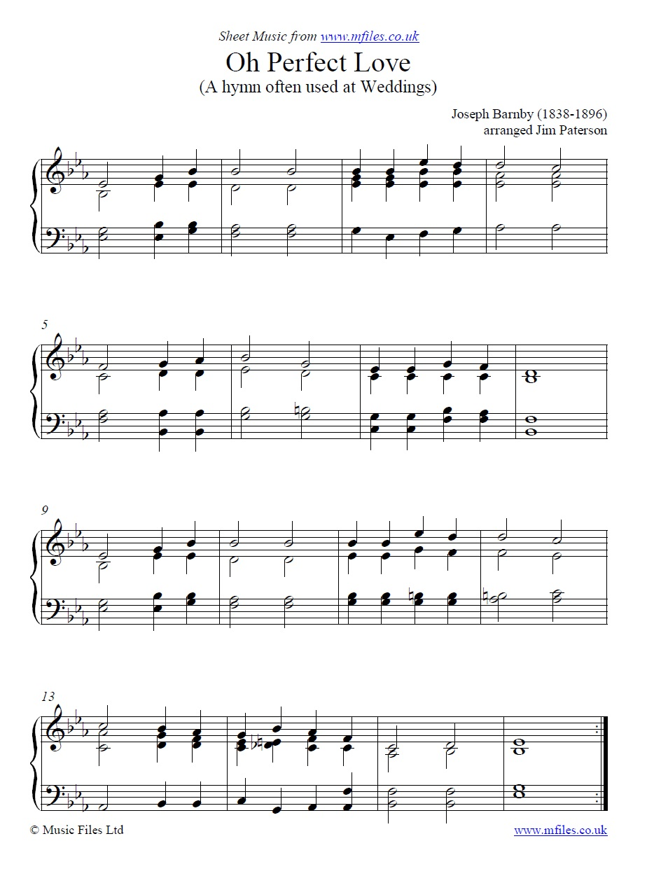 Oh Perfect Love for piano - sheet music 1st page