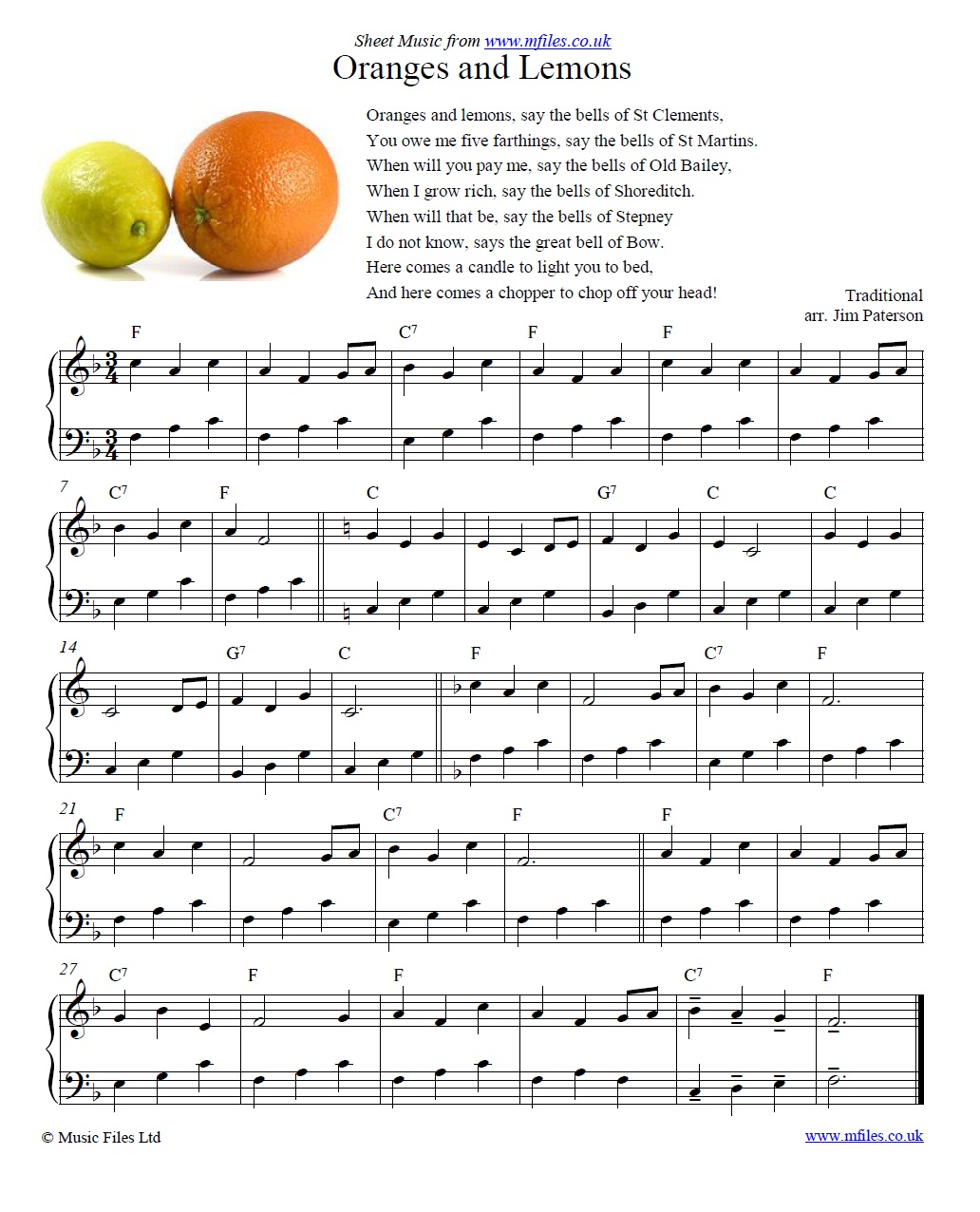 Oranges and Lemons for piano - sheet music 1st page