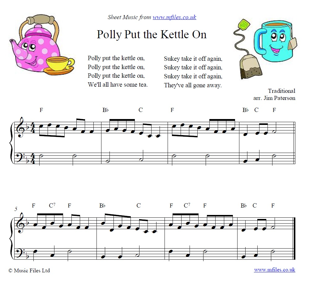Polly Put the Kettle On for piano - sheet music 1st page