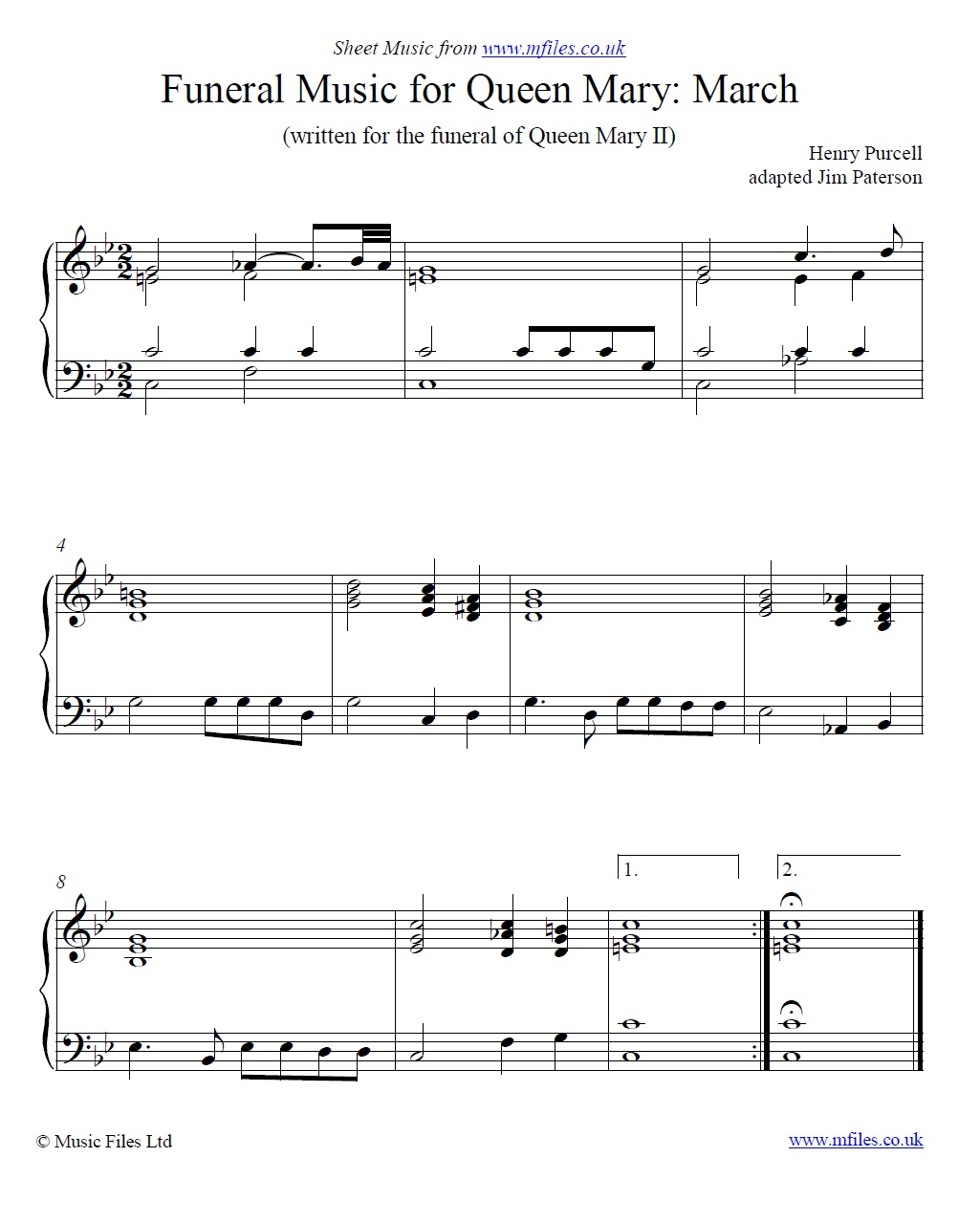 Purcell's March from the Funeral Music for Queen Mary for piano - sheet music 1st page