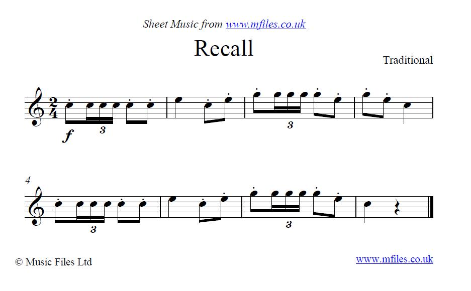 Recall (bugle call) - sheet music 1st page