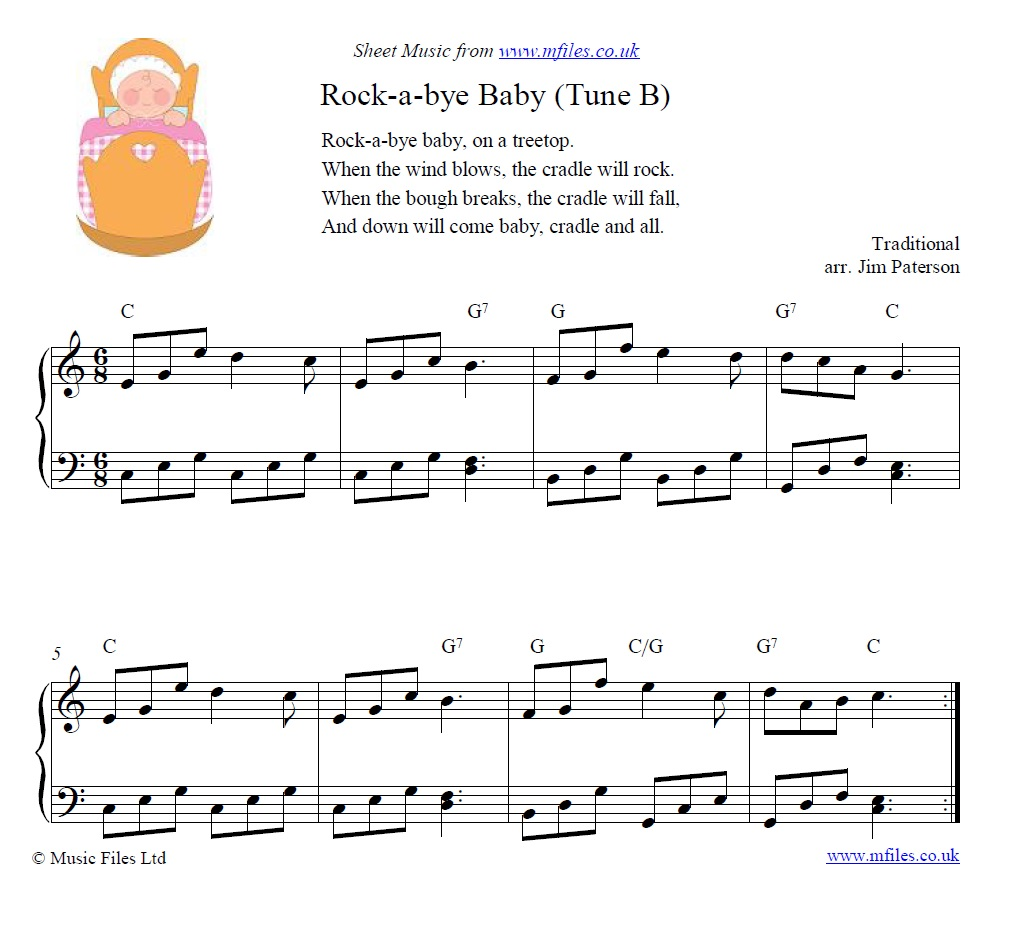 Rock-a-bye Baby (tune B) for piano - sheet music 1st page