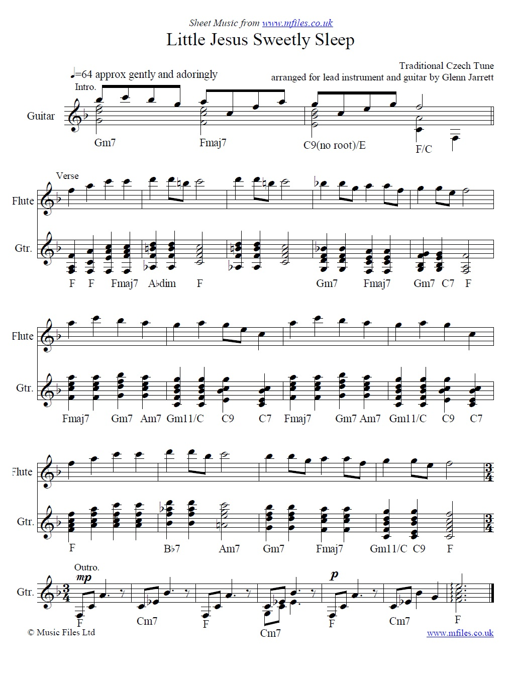 Rocking Carol (Little Jesus Sweetly Sleep) arranged by Glenn Jarrett for flute and guitar - sheet music 1st page