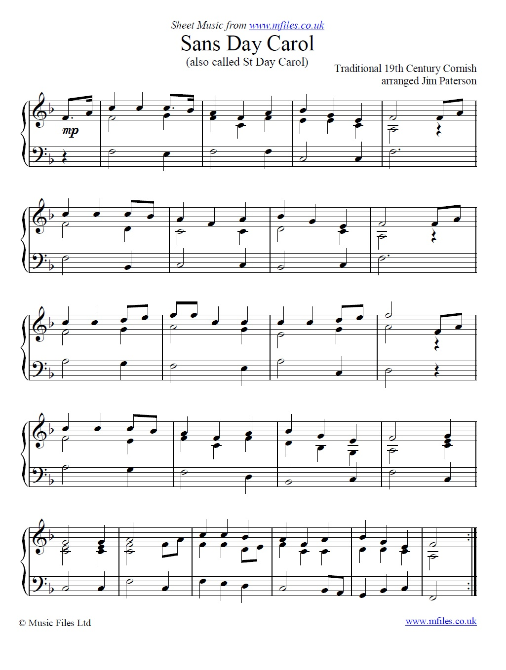Sans Day Carol for piano - sheet music 1st page