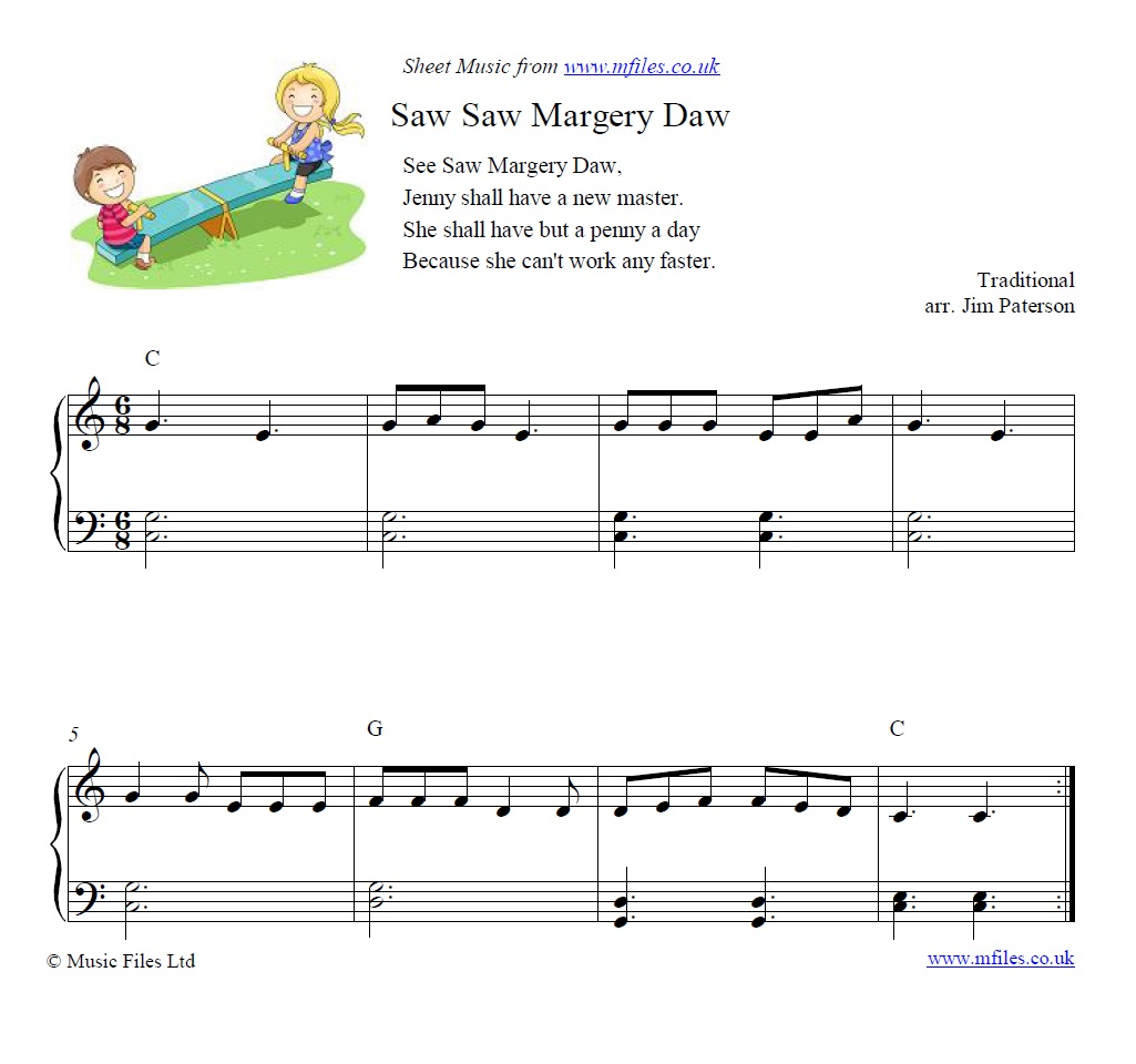 See Saw Margery Daw for piano - sheet music 1st page