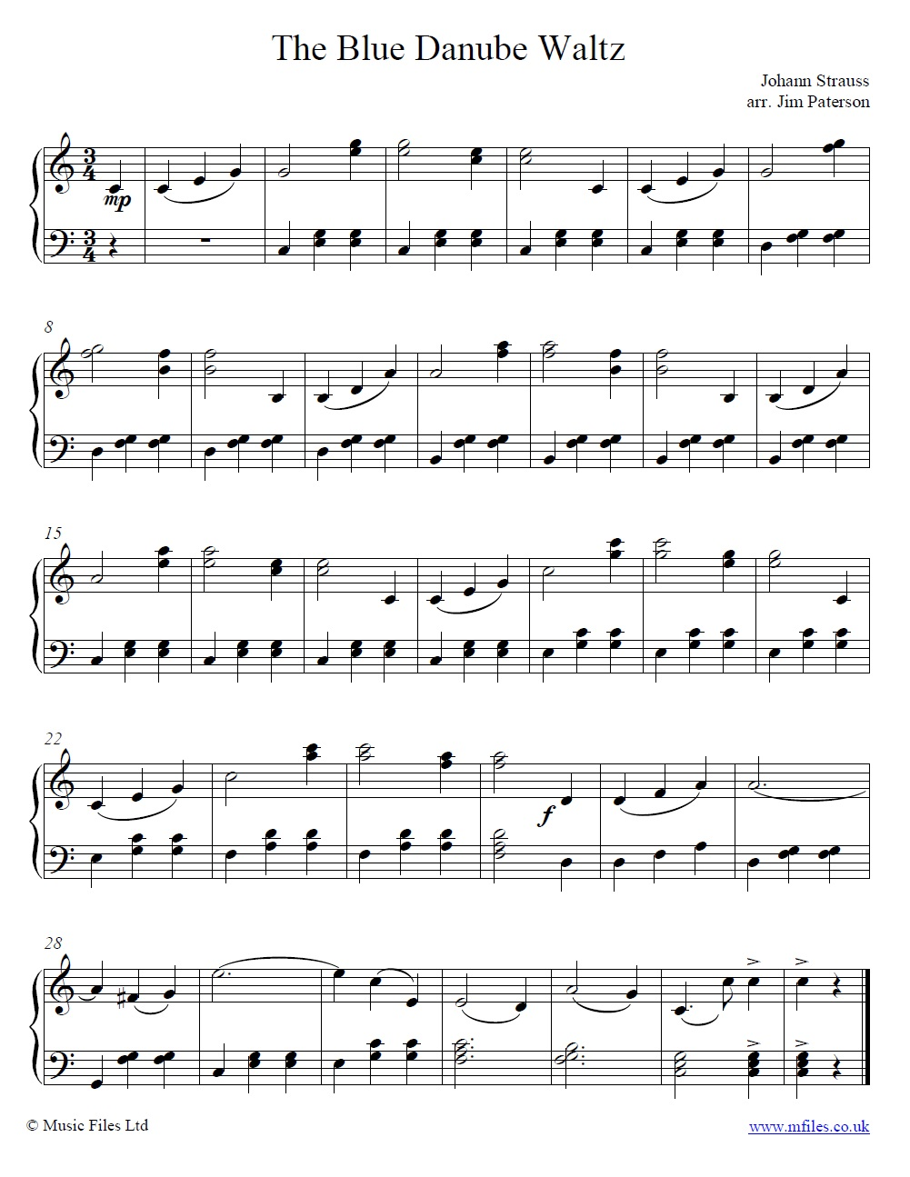 Strauss' The Blue Danube Waltz theme for piano - sheet music 1st page