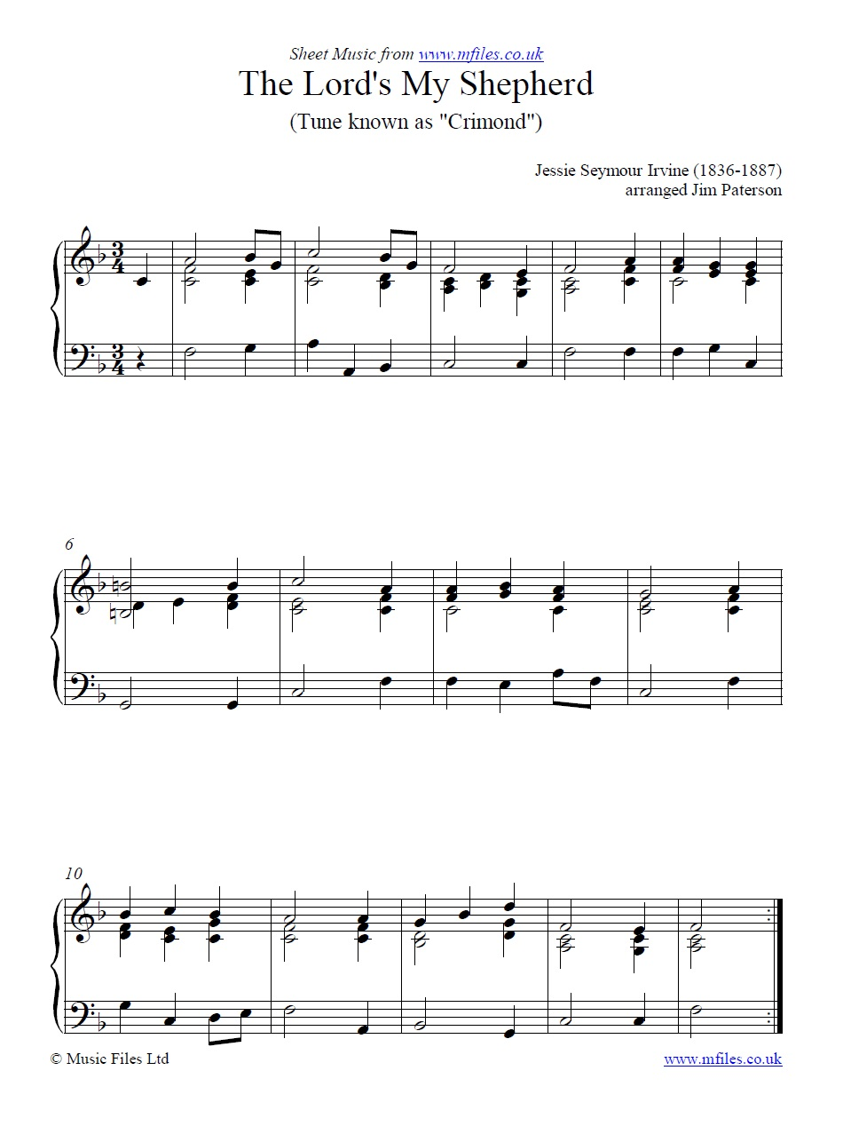 The Lord's My Shepherd for piano - sheet music 1st page