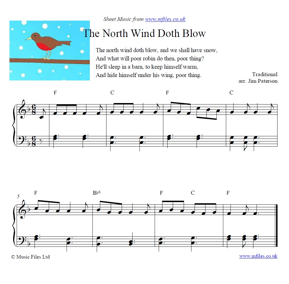 The North Wind Doth Blow for piano - sheet music 1st page