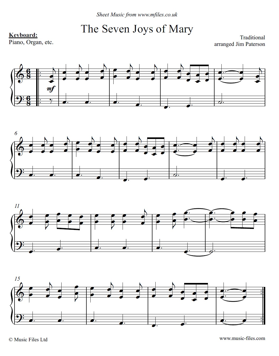 The Seven Joys of Mary - piano sheet music 1st page