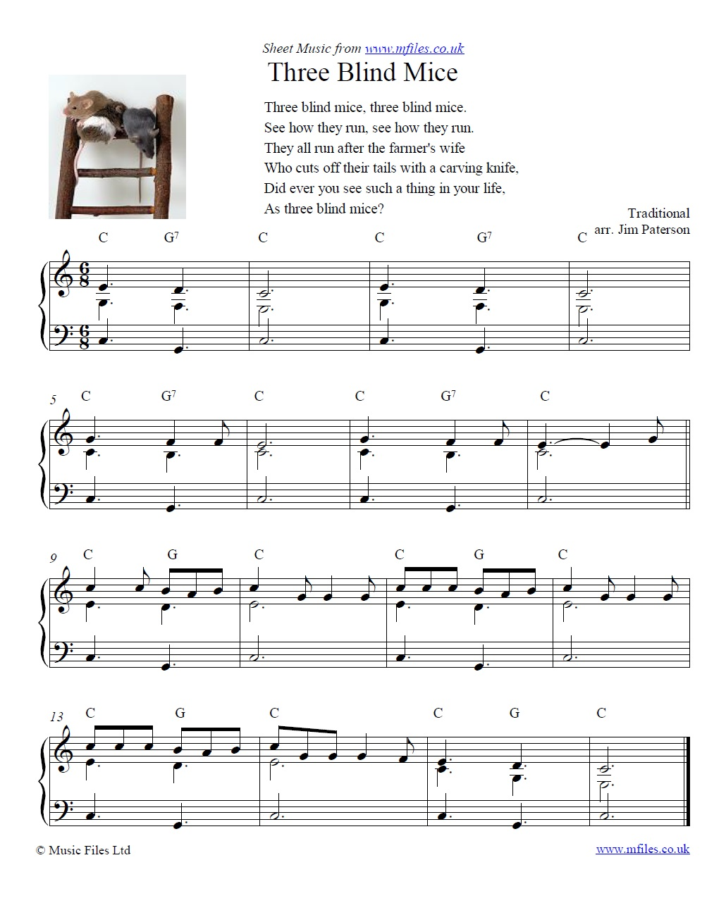 Three Blind Mice for piano - sheet music 1st page