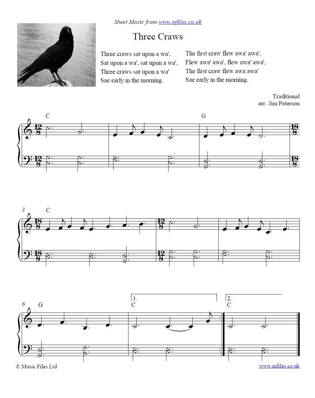 Three Craws for piano - sheet music 1st page