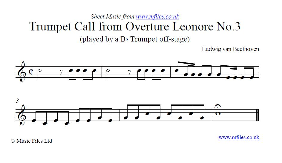 Beethoven's Trumpet call from the Concert Overture Leonore No.3 - sheet music 1st page