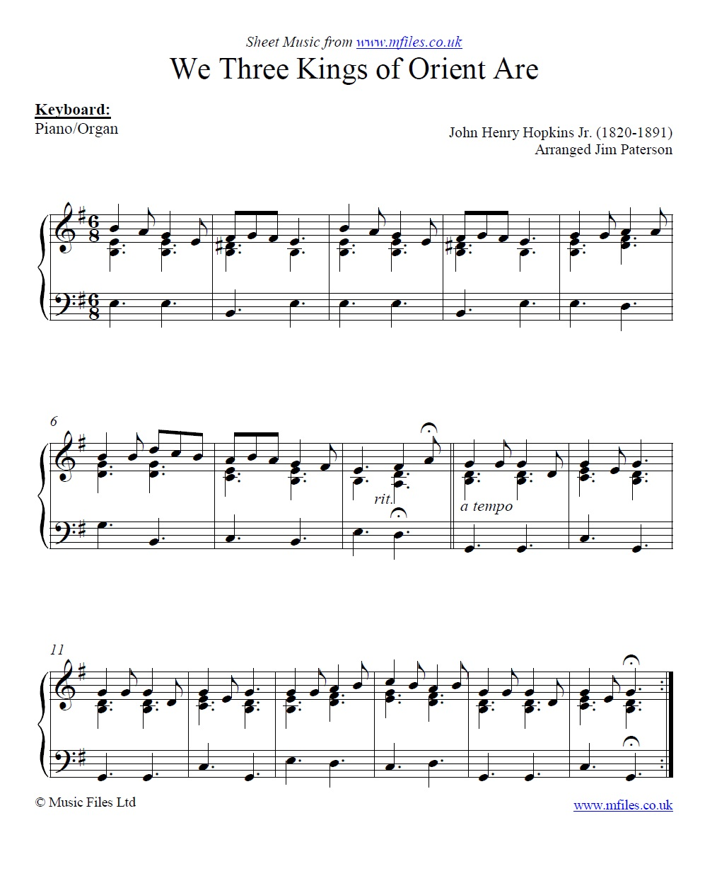 We Three Kings of Orient Are for piano - sheet music 1st page