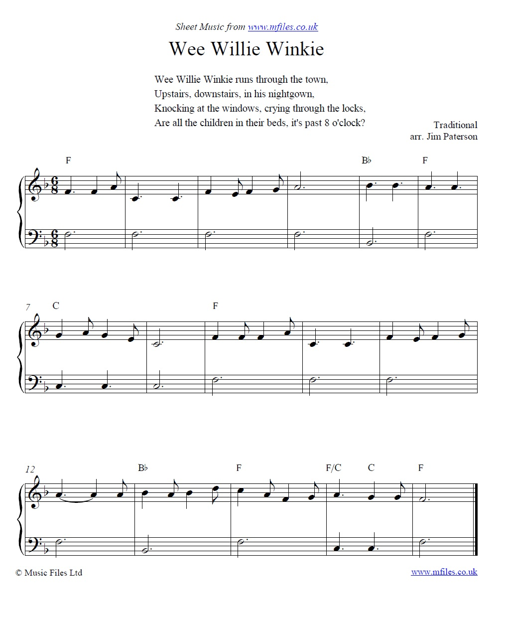 Wee Willie Winkie for piano - sheet music 1st page
